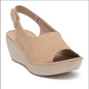 Clarks Reedly Shaina Nubuck Wedge Sandal Size 9